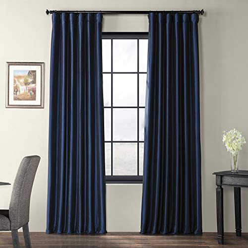 Half Price Drapes PTCH-JTSP194010-84 Faux Silk Taffeta Curtain, Navy Blue (Silk Navy Curtains)