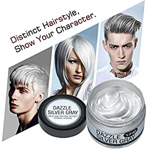 Hair Color Wax,Luckyfine Disposable Hair Mud Dye Cream Silver Grey for Men Women