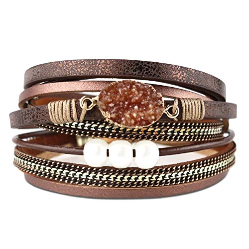 Eivanc Brown Wrap Leather Bracelet Natural Stone Pearl Multi-Layer Crystal Rhinestone Braided Cuff Bohemia Boho Braided with Magnetic Buckle Vintage Bracelet for Mother