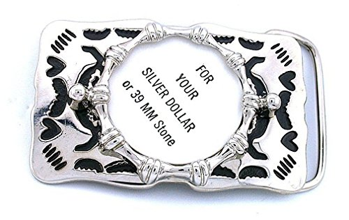 Silver Dollar 39mm Cabochon Southwest Heart Silver Color Belt Buckle Mounting CF934