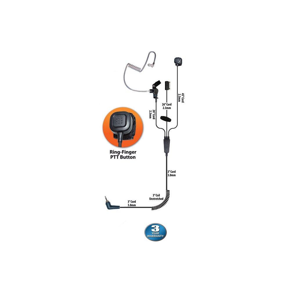 Klein Stealth 3-Wire Ring-PTT Earpiece for Motorola Team Sprint Direct Connect Kyocera DuraPlus/DuraXT Series Samsung Convoy and Casio Ozone Phones (3 Year Warranty)