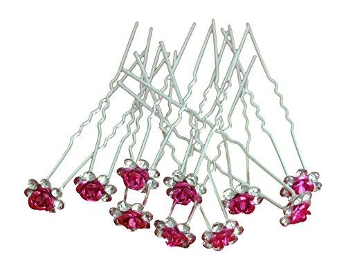 Pack of 10 Rose Flower Crystal Rhinestones Hair Pins Bridal