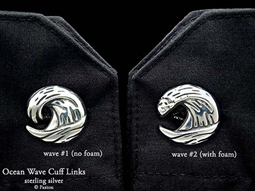 Ocean Wave Cuff Links in Solid Sterling Silver Hand Carved & Cast by Paxton by Paxton Jewelry