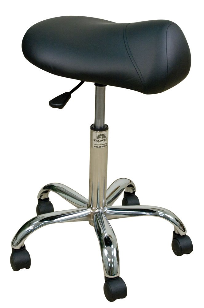 Oakworks Professional Stool with Saddle Seat High, Espresso Upholstery by Oakworks