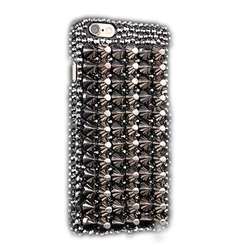 Crystal Case Generation Rubber (STENES iPod Touch (6th Generation) Case - Luxurious Crystal 3D Handmade Sparkle Diamond Rhinestone Cover With Retro Bowknot Anti Dust Plug - Punk Rivet Design/Silver)