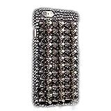 iPod Touch (6th Generation) Case, Sense-TE Luxurious Crystal 3D Handmade Sparkle Diamond Rhinestone Cover with Retro Bowknot Anti Dust Plug - Punk Rivet Design / Silver