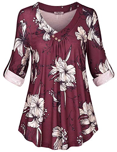 Hibelle Fall Blouses for Women, Fall Ladies Floral Printed Tunic 3/4 Roll Up Sleeves Cross V Neck Buttons Shirts White Flower Comfort Pleated Aline Flowy Petite Athleisure Tops Wine M