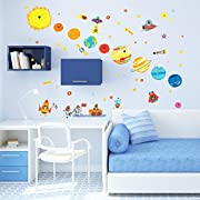 Decowall DW-1707 Planets and Space Kids Wall Decals Wall Stickers Peel and Stick Removable Wall Stickers for Kids Nursery Bedroom Living Room