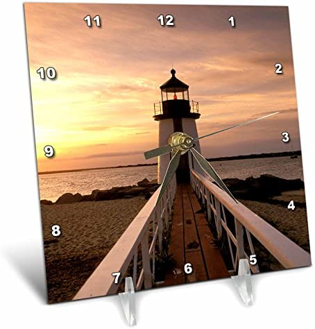 3dRose dc_90959_1 Massachusetts Nantucket Brant Point Lighthouse Walter Bibikow Desk Clock, 6 by 6-Inch