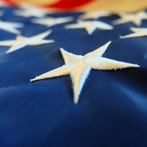 American Flag 3x5 ft - Heavy-Duty US Flag - Embroidered Stars - Nylon USA Flag Built for Outdoors - Sewn Stripes - UV Protection - Brass Grommets by NatFlag (Image #4)