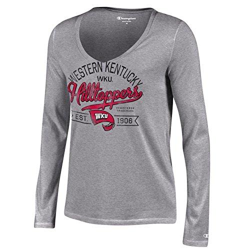 Champion NCAA Western Kentucky Hilltoppers Women's University Long sleeve V-Neck T-Shirt, X-Large, Gray