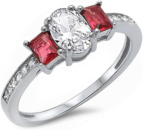 Oval Shape Simulated Ruby & Cubic Zirconia .925 Sterling Silver Ring Sizes 5-10