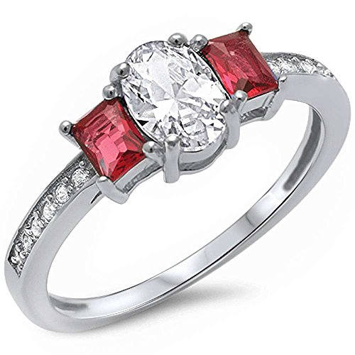 Ruby & Cubic Zirconia .925 Sterling Silver Ring Sizes 8 (Oval Shape Ruby Ring)