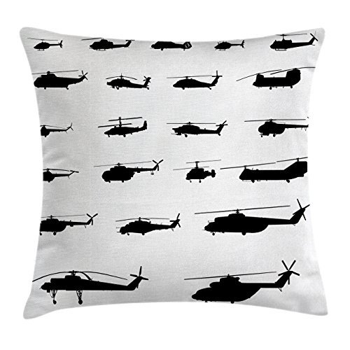 CAROLJU War Home Decor Throw Pillow Cushion Cover, Helicopter Battle in Air Sikorsky Chinook Iroquois Hawk Airforce Theme, Decorative Square Accent Pillow Case, 18 X 18 Inches, Black White
