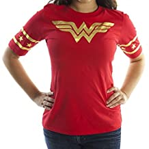 Wonder Woman Gold Foil Striped Sleeves Red Juniors T-shirt Tee (Juniors XX-Large)