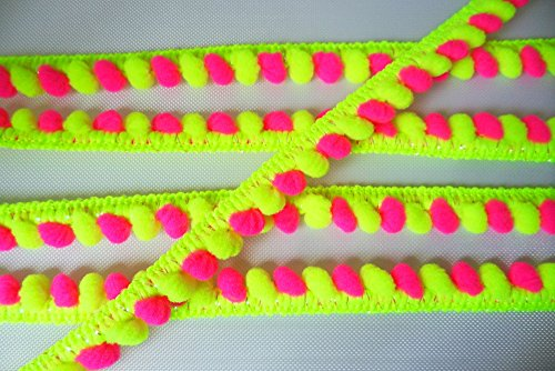 (Neon Lime Green Hot Pink Mini Pompom Mix Colors Fringe Lace Dangling Trim Braid Tape Fluff Bobble Ball Ruffle 6 Yards)