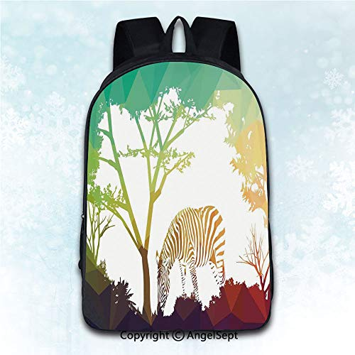 Durable Double Shoulder Bag Rucksack,Wildlife Decor Digital Zebra Figure in Fractal Display Vivid Colors A Look at Kenya Illustration Multi 16 inches,Multipurpose Use Travel Backpack