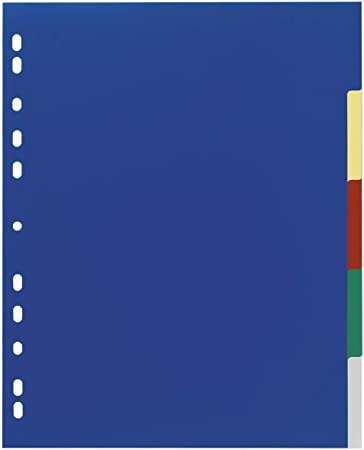 eco-eco A4 50/% Recycled Coloured Set 5 Part Wide Plastic Multi Hole Punched Strong Index File Dividers Subject Dividers 200mic