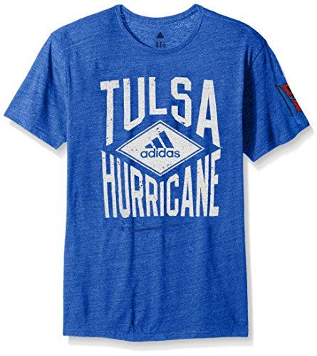 adidas NCAA Tulsa Golden Hurricane Men's Diamond Mine Tri-Blend Short Sleeve Tee, Large, Collegiate Royal Heathered