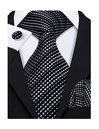 Barry.Wang Black Gret Dot Ties for Men Black White Dot Handkerchief Cufflink