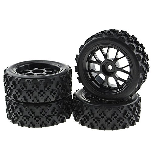 4PCS Black 1:10 Scale RC Tires Wheel Rims Crossing Rubber Off-Road Parts ()
