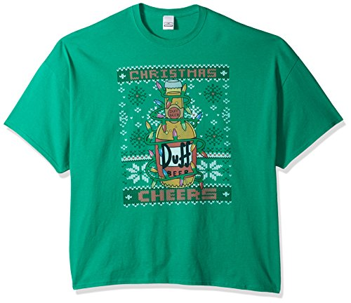 The Simpsons Men's Big and Tall Duff Beer Cheers Ugly Christmas T-Shirt B&t, Kelly, 3XL (Simpsons Beer Duff T-shirt)
