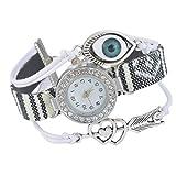Souarts Womens White Multilayer Evil Eye Heart Charms Rhineston Dial Quartz Analog Wrist Watch 19cm