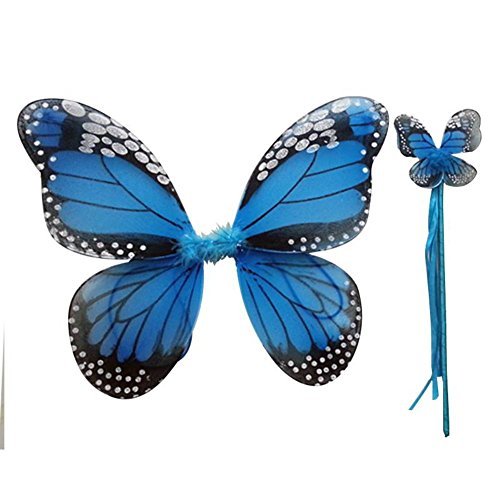 Weixinbuy Fairy Girl Butterfly Wing Princess Party Halloween Costume Dress (Blue Butterfly Halloween Costume)