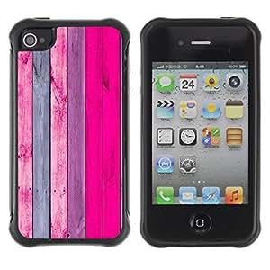 "Hypernova Defender Series TPU protection Cas Case Coque pour Apple iPhone 4 / iPhone 4S [Patrón de textura de madera gris del rosa""]"