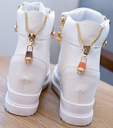 Chaussure Compensées Plateforme Casual Lacet Montante Blanc Cuir wealsex Fermeture Eclair Femme Basket wYAtxS