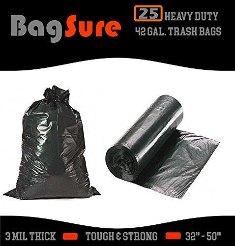 BagSure Heavy Duty 42 Gallon Black Trash Bags 32