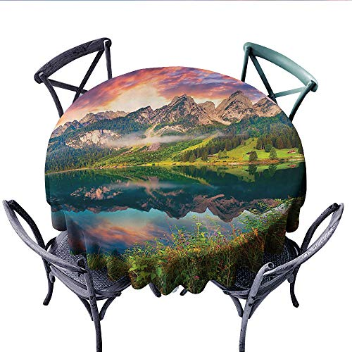 Cottage Decor Collection Dinning Tabletop DecorColorful Summer Sunrise on the Vorderer Gosausee Lake in the Austrian Alp Mountains Picture Dust-proof Round Tablecloth (Round, 60 Inch, Ivory Green Oran