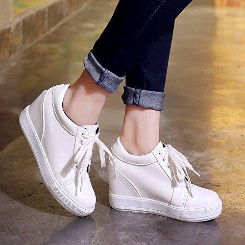 Latasa Womens Fashion Lace-up Platform Wedges Oxfords White DqOnto3