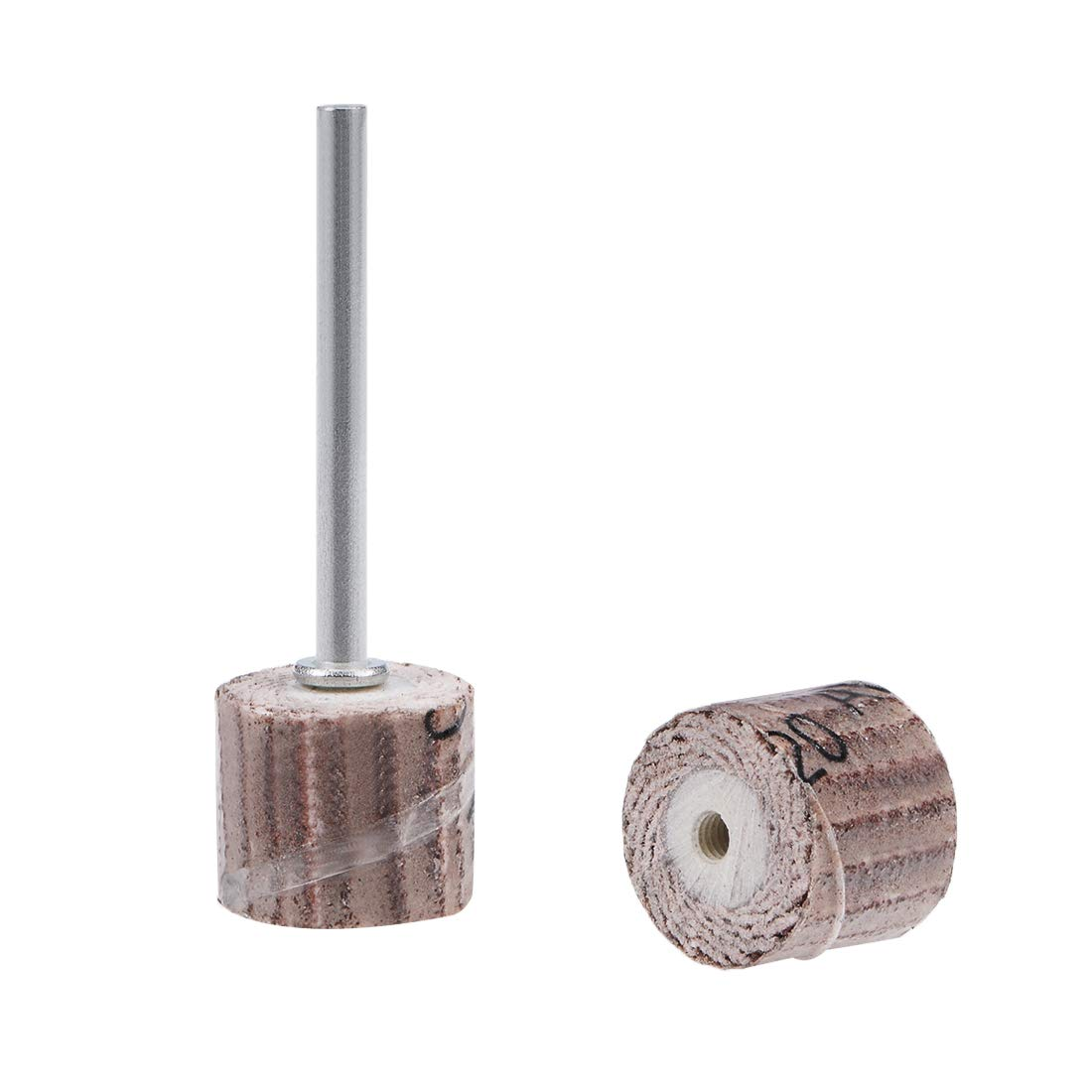uxcell 2 Pcs 12x12mm Flap Wheel 120 Grits Abrasive Grinding Head with 1/8'' Shank for Rotary Tool