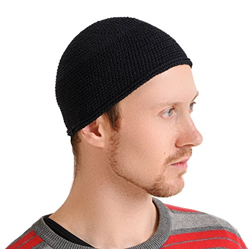 Kufi Hat Mens Beanie - Men Cotton Skull Cap Hand Made 2 Sizes Islam Black L