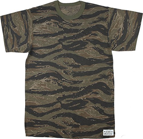 Army Universe Tiger Stripe Camouflage Short Sleeve T-Shirt with Pin - Size 4X-Large (Tiger Stripe Camo T-shirt)