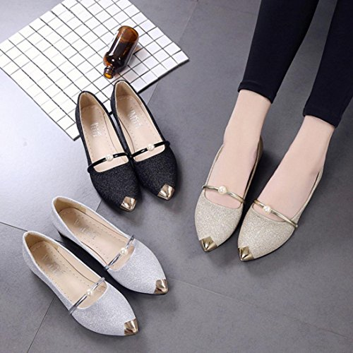 Shoes Shoes Casual Toe Heel Mouth Flat Gold Shallow HGWXX7 Single Ladies Low Pointed Shoes Flat Women Shoes FqwO5BB