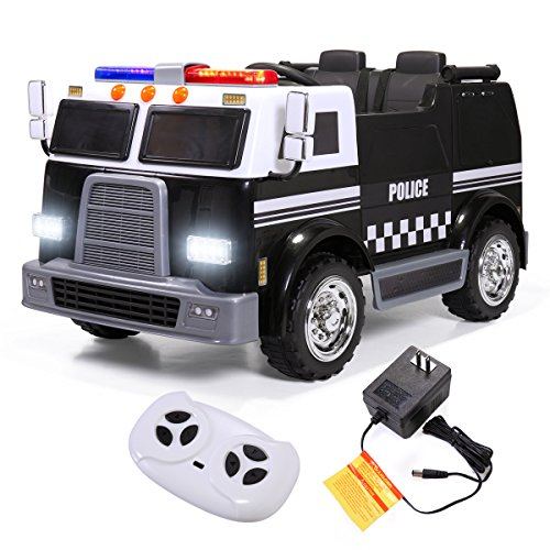 JAXPETY Kids Ride On Police Truck Emergency Engine Toy Electric Battery Powered Music 12V