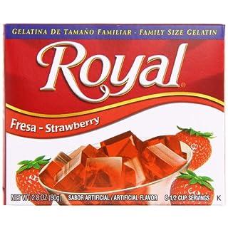 Royal Bilingual Gelatin, Fat Free Dessert Mix, Strawberry (12 - 2.8 oz Boxes)