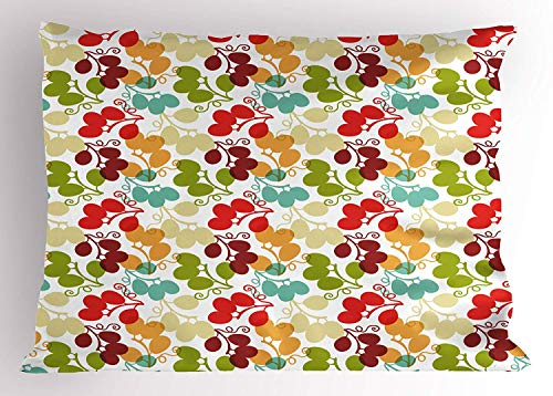 (K0k2t0 Vineyard Pillow Sham, Mix of Swirled Bunch of Grapes Icon Kid Theme Sweet Blend Exotic Flavor Design, Decorative Standard Queen Size Printed Pillowcase, 30 X 20 inches, Multicolor)