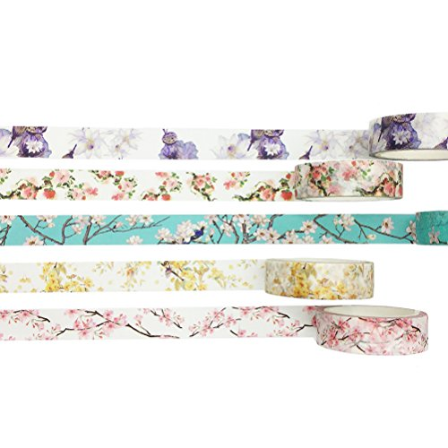 Vintage Floral Flower Washi Tape Set of 5 Rolls Assorted - Classy Design Diary Notebook Scrapbook Decorative DIY Japanese Masking Adhesive Sticky Paper Washi Tape Set (Width: 15mm) -