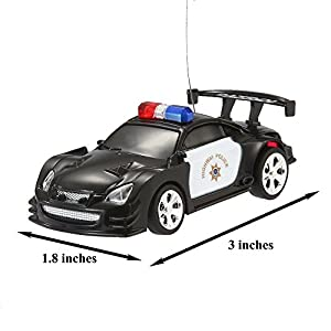 Joyin Toy RC Remote Radio Control Mini Micro Racing Police Car Pocket Race Car Toy with LED Light and Siren Sound