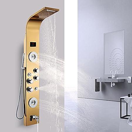 XBR Temperatura Constante Digital Inteligente de la Ducha Set de Ducha de Acero Inoxidable 304 mampara de Ducha WC Bañera Ducha,Color Oro de Lujo: Amazon.es: Hogar