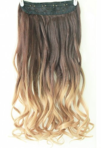3/4 Full Head Clip in Hair Extensions Ombre One Piece 2 Tones Wavy (Chocolate brown to sandy blonde) by D&L