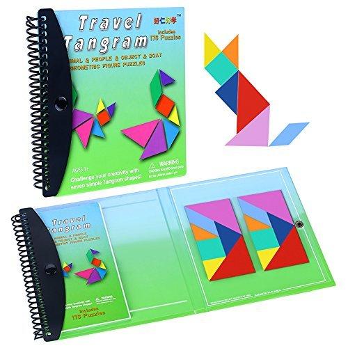 wallxin磁気パズルTangram Jigsawゲーム旅行おもちゃ教育課題IQ Book