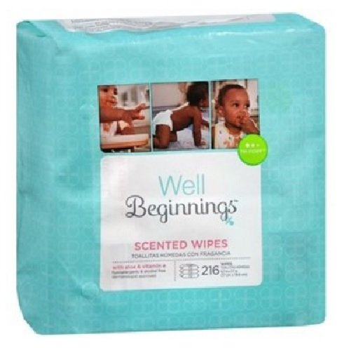 Well Beginnings Premium Baby Wipes Refill, Scented 216 Ea