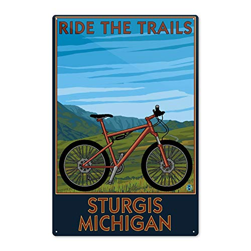 Lantern Press Sturgis, Michigan - Mountain Bike Scene - Ride The Trails 57091 (6x9 Aluminum Wall Sign, Wall Decor Ready to Hang)