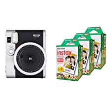 Fujifilm Instax Mini 90 - Neo Classic Instant Film Camera, Silver/Black & Fujifilm Instax Mini Film, Multi-Pack White (3 x 2pk, 60 shots total)