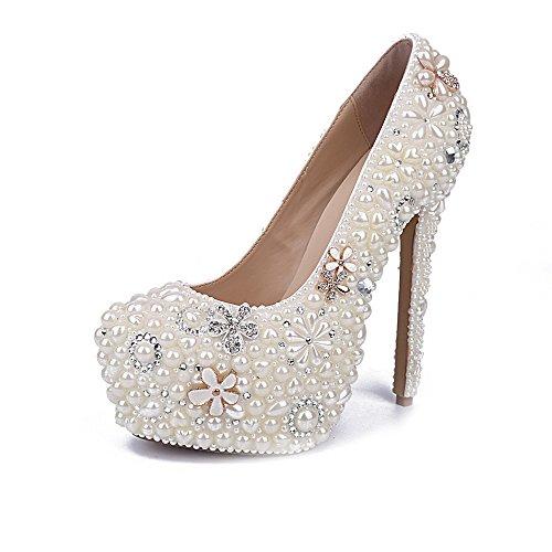 Koyi Zapatos de Perlas Flores de Diamantes de Imitación Flores Zapatos de Boda Blanco Ultra Alto Talón Impermeable Plataforma de la Bomba de Las Mujeres 14cm White