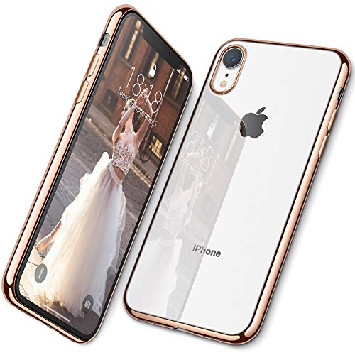 DTTO Case for iPhone XR, [Lightening Series] Clear Stylish Flexible Case with Metal Luster Edge for Apple iPhone XR 6.1 Inch (2018 Released) - Gold